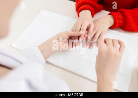 Receiving Procedure in Nail Salon - Stock Photo