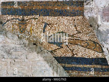 Church of Saint Mary of Terrassa (ancient Egara). Detail of a mosaic made using the technique Opus tessellatum. - Stock Photo