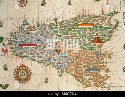 Island of Sicily. Portolan chart by Joan Martines, Spanish cartographer of the Majorcan cartographic school (16th - Stock Photo