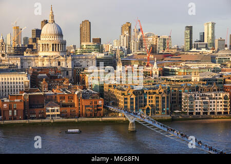 Panoramic view of St. Paul's Cathedral and surrounding buildings, London England United Kingdom UK - Stock Photo