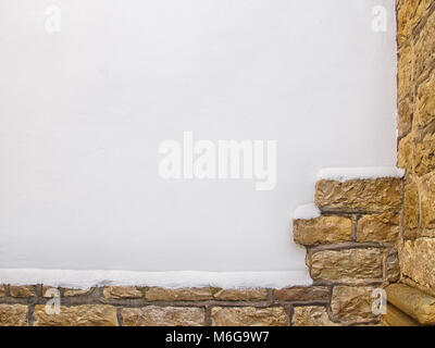Real Spanish white plastered wall background - Stock Photo