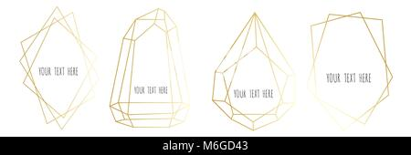 Set of gold Geometrical polyhedron, Frame border with copy space. Modern abstract vector backgrounds in art deco - Stock Photo