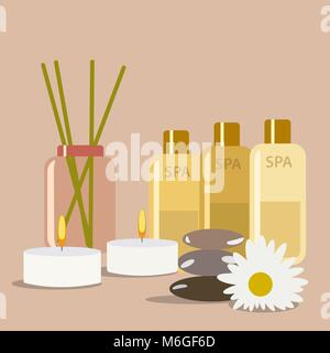 SPA still life. aromatherapy candle and cream oil products - Stock Photo