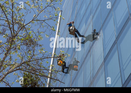 Window cleaners in Santiago, Chile - Stock Photo