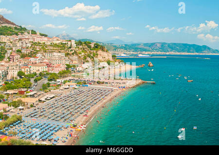 aerial view of Vietri Sul Mare beach with people on sunny summer day with mountains at background, Amalfi coast, - Stock Photo