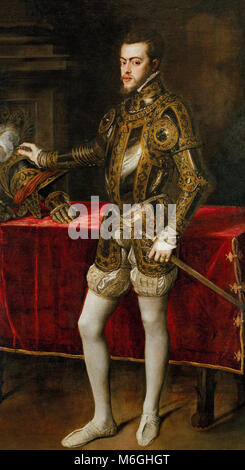 Philip II in Armour - Portrait of King Philip II of Spain (1527-1598), who was the son of Emperor Charles I of Spain - Stock Photo