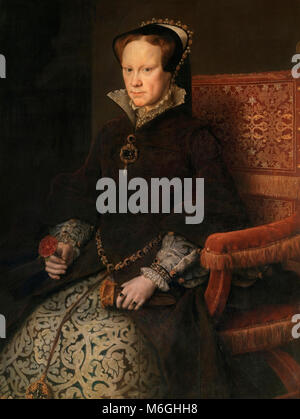 Portrait of Queen Mary I of England (1516-1558), better known as Maria Tudor, who was the daughter of King Henry - Stock Photo