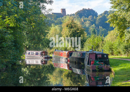 Narrow boats / barges moored on a canal in Kinver Staffordshire UK - Stock Photo