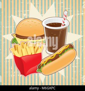 Retro background with fast food - Stock Photo