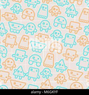 Cartoon robots seamless pattern - Stock Photo