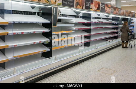 Scotland United Kingdom, 4th March 2018. The shelves in the fresh meat aisle in a supermarket are empty during Beast - Stock Photo