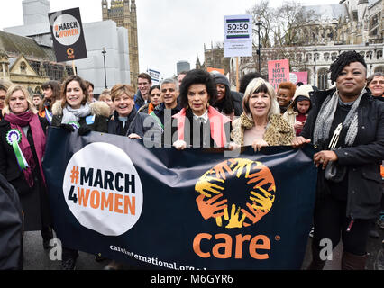 Westminster, London, UK. 4th March 2018. The annual March4Women march from Parliament to Trafalgar Square in central - Stock Photo