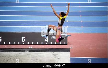 Birmingham, UK. 4th Mar, 2018.: IAAF World Indoor Championships. Germany's Malaika Mihambo competing in the long - Stock Photo