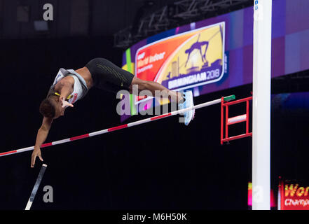 Birmingham, UK. 4th Mar, 2018.: IAAF World Indoor Championships. Germany's Raphael Holzdeppe competing in the pole - Stock Photo