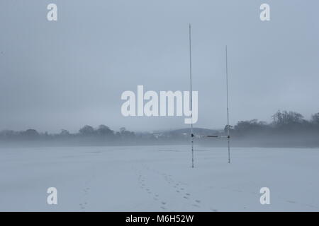 Dublin, Ireland. 4th Mar, 2018. A snow covered GAA pitch in Marlay Park in Dublin during a period of fog. Image - Stock Photo