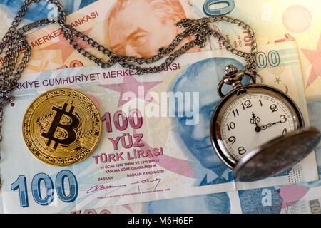 Bitcoin and pocket watch on turkish lira - Stock Photo