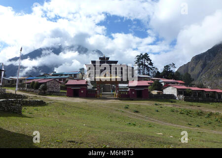 View of the Tengboche monastery with clouds, Everest Base Camp trek, Nepal - Stock Photo