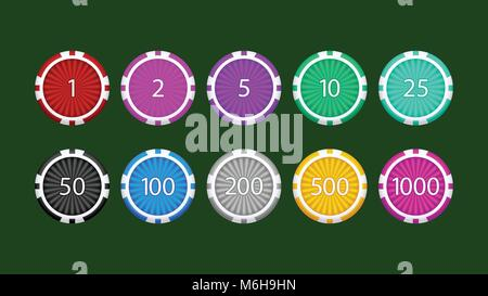 poker chips set on green - Stock Photo