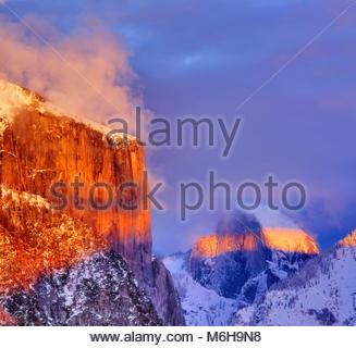 El Capitan and Half Dome at Sunset, Yosemite National Park, California - Stock Photo