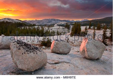 Boulders at Sunset near Tuolumne Meadows, Yosemite National Park, California - Stock Photo