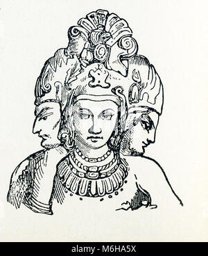 This illustration dates to around 1898 and shows the Trimurti. In Hinduism, the Trimurti represent the supreme divinity. - Stock Photo