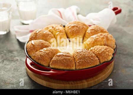 Cinnamon sugar buns with cheesecake dip - Stock Photo