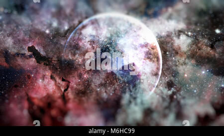 Earth and galaxies in space. Science fiction art with small DOF. Elements of this image furnished by NASA. - Stock Photo