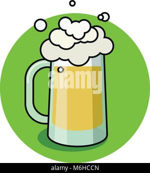 Glass of beer isolated on white background, hand-drawing oktoberfest, for pub and bar menu. Vector - Stock Photo