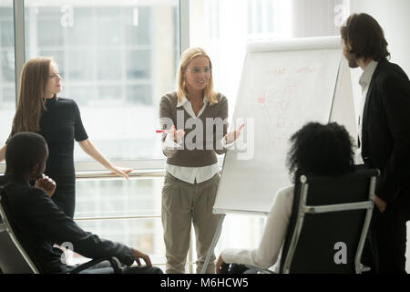 Female team leader or business coach giving presentation to empl - Stock Photo