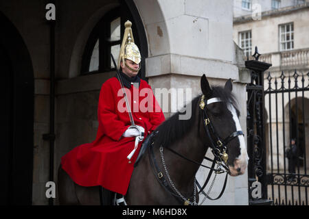 Household Cavalry Life Guard mounted on horse - Whitehall - London, England - UK - Stock Photo