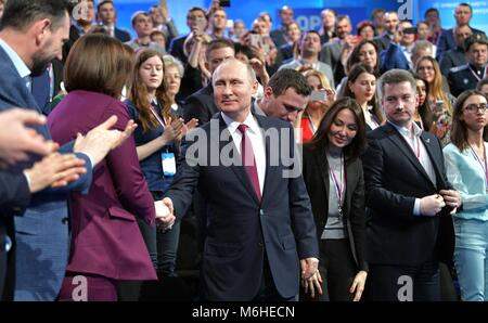 Russian President Vladimir Putin greets members of the Fifth Truth and Justice Media Forum, organized by the Russian - Stock Photo