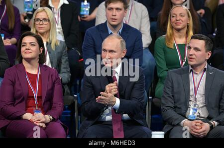 Russian President Vladimir Putin addresses members of the Fifth Truth and Justice Media Forum, organized by the - Stock Photo