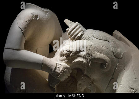 Jaen, Spain - December 29th, 2017: Griphomaquia, sculpture group made of calcarenite, Cerrillo Blanco, Porcuna at - Stock Photo
