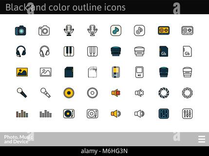 Black and color outline icons, thin stroke line style design - Stock Photo