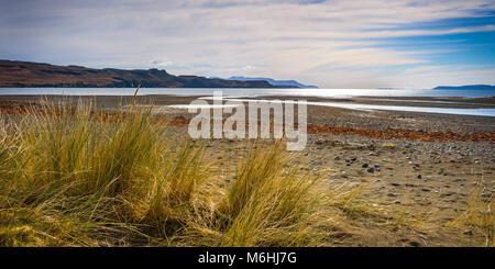 Culnamean beach, one of the few sandy beaches on the Isle of Skye. - Stock Photo