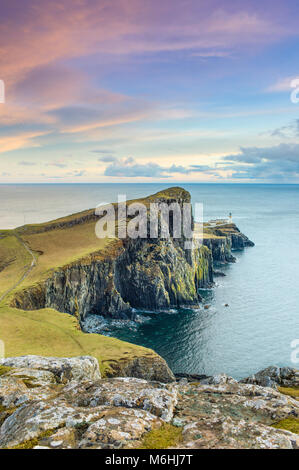 Neist Point is a popular viewpoint on the most westerly point of Skye. - Stock Photo