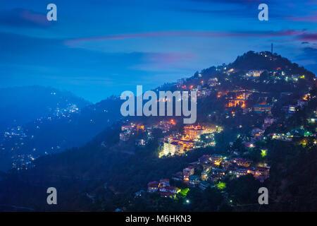 Night view of Shimla town, Himachal Pradesh, India - Stock Photo