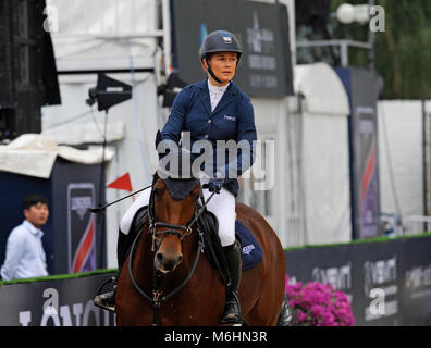 Competitor from Britain at the FEI jumping event in Chaoyang park, Beijing, China, in October 2016 - Stock Photo