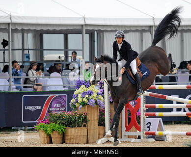 FEI jumping event in Chaoyang park, Beijing, China, in October 2016 - Stock Photo