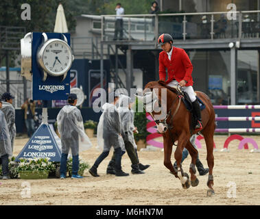 Competitor from China at the FEI jumping event in Chaoyang park, Beijing, China, in October 2016 - Stock Photo