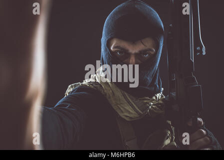 Terrorist criminal portrait - Stock Photo