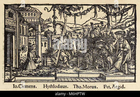 Woodcut from 1518 third edition of 'Utopia' by Sir Thomas More (1478–1535) published in Basel showing the author - Stock Photo