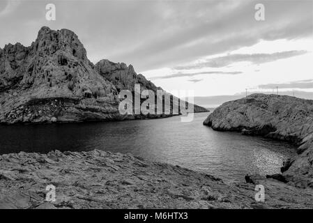 General Black and white view of Les Goudes, Bouches-du-Rhone, France - Stock Photo