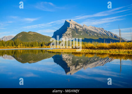 Mount Rundle reflected in Vermillion Lakes, Lake,    Banff National Park, Alberta, Canada - Stock Photo