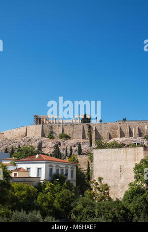 View of the Acropolis of Athens from the terrace of the New Acroplis Museum. Vertical - Stock Photo