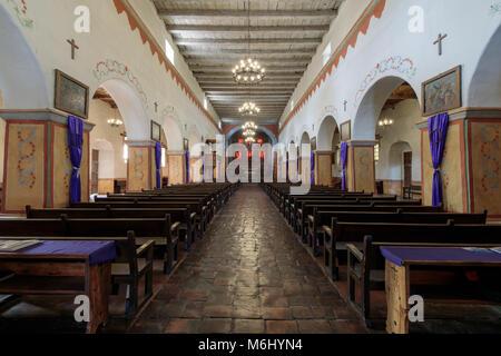 San Juan Bautista, California - March 3, 2018: Interior of Church of Old Mission San Juan Bautista