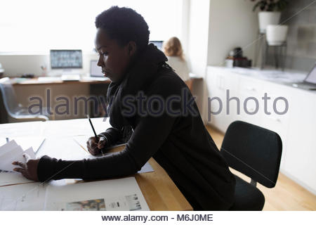 Female photo editor reviewing photo proofs in office - Stock Photo