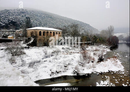 Snowy landscape in the French Cevennes region - Stock Photo