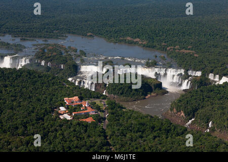 Aerial scenic Iguazu Falls waterfalls border Brazil, Argentina, Paraguay UNESCO World Heritage site Natural Wonders - Stock Photo