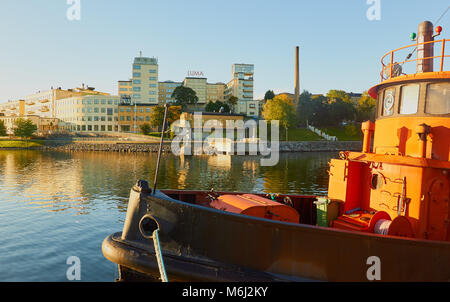 Barge, Hammarby Sjostad eco neighbourhood a pioneer in sustainable development, Hammarby Lake, Stockholm, Sweden, - Stock Photo